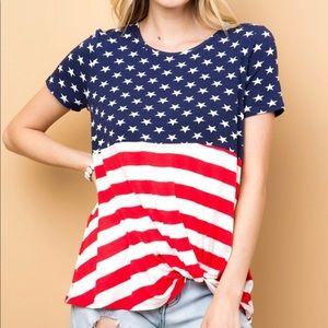 American Flag Short Sleeve Top
